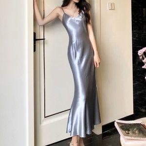 Spaghetti Strap Satin Midi Mermaid Dress - Large
